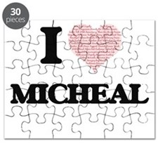 I Love Micheal (Heart Made from Love words) Puzzle