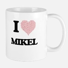 I Love Mikel (Heart Made from Love words) Mugs