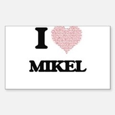 I Love Mikel (Heart Made from Love words) Decal