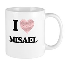I Love Misael (Heart Made from Love words) Mugs