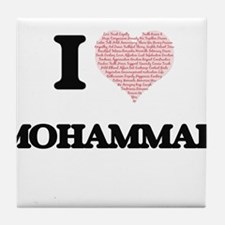I Love Mohammad (Heart Made from Love Tile Coaster