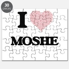 I Love Moshe (Heart Made from Love words) Puzzle