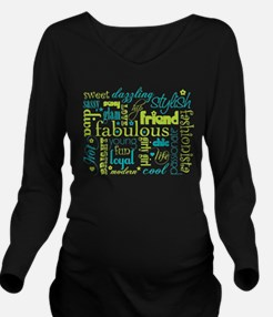 Green and Aqua Friend Word Collage Long Sleeve Mat