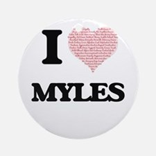 I Love Myles (Heart Made from Love Round Ornament