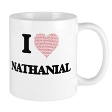 I Love Nathanial (Heart Made from Love words) Mugs