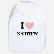 I Love Nathen (Heart Made from Love words) Bib