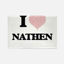 I Love Nathen (Heart Made from Love words) Magnets
