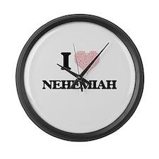 I Love Nehemiah (Heart Made from Large Wall Clock