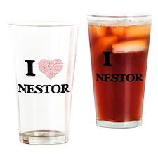 I Love Nestor (Heart Made from Love Drinking Glass
