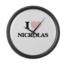 I Love Nickolas (Heart Made from Large Wall Clock