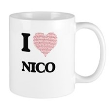 I Love Nico (Heart Made from Love words) Mugs