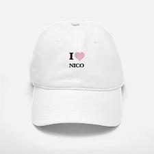 I Love Nico (Heart Made from Love words) Baseball Baseball Cap