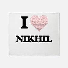 I Love Nikhil (Heart Made from Love Throw Blanket