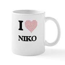 I Love Niko (Heart Made from Love words) Mugs