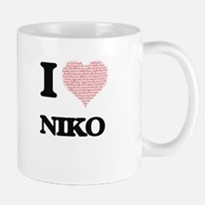 I Love Niko (Heart Made from Love words) Mugs