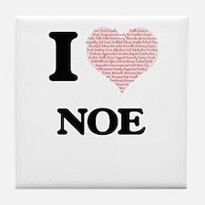 I Love Noe (Heart Made from Love word Tile Coaster
