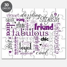 Purple And Black Friend Word Rectangular Puzzle