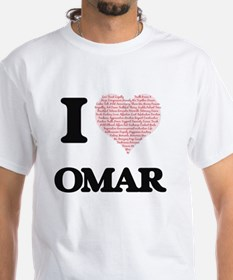 I Love Omar (Heart Made from Love words) T-Shirt