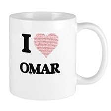 I Love Omar (Heart Made from Love words) Mugs