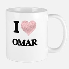 I Love Omar (Heart Made from Love words) Mugs