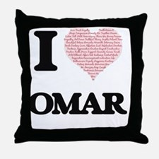I Love Omar (Heart Made from Love wor Throw Pillow