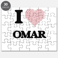 I Love Omar (Heart Made from Love words) Puzzle