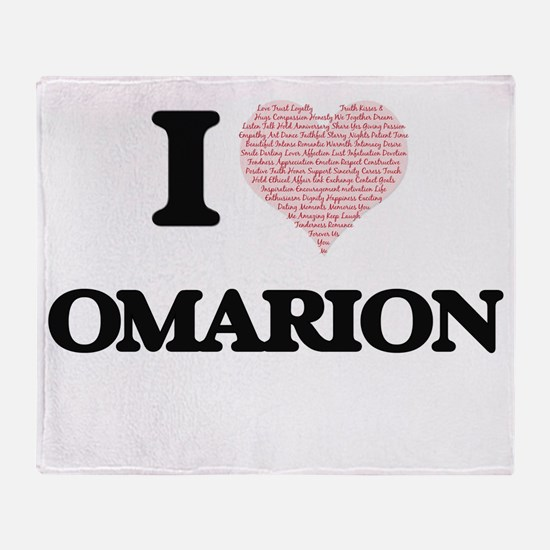 I Love Omarion (Heart Made from Love Throw Blanket