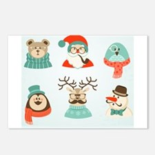 christmas hipster santa Postcards (Package of 8)