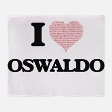 I Love Oswaldo (Heart Made from Love Throw Blanket