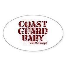 Coastie Baby On The Way Oval Decal