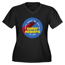 Super Powers 02 Women's Plus Size V-Neck Dark T-Sh