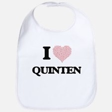 I Love Quinten (Heart Made from Love words) Bib