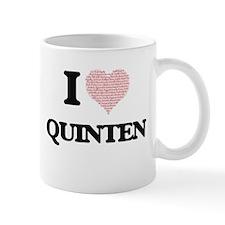 I Love Quinten (Heart Made from Love words) Mugs