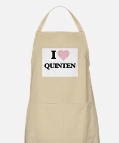 I Love Quinten (Heart Made from Love words) Apron