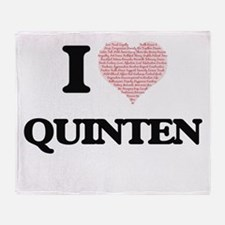 I Love Quinten (Heart Made from Love Throw Blanket