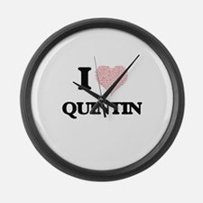I Love Quintin (Heart Made from L Large Wall Clock