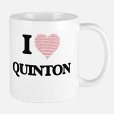 I Love Quinton (Heart Made from Love words) Mugs