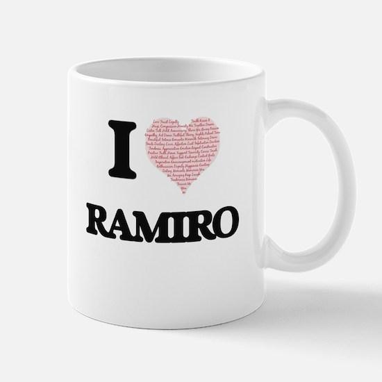 I Love Ramiro (Heart Made from Love words) Mugs