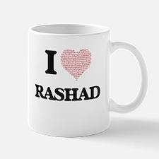 I Love Rashad (Heart Made from Love words) Mugs