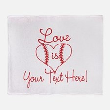Love is Baseball Your Text Throw Blanket