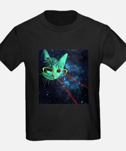 Laser Eyes Space Cat T-Shirt