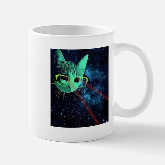 Laser Eyes Space Cat Mugs