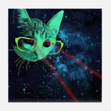 Laser Eyes Space Cat Tile Coaster