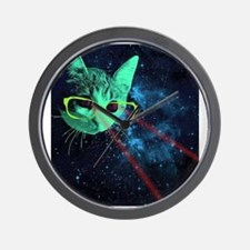 Laser Eyes Space Cat Wall Clock