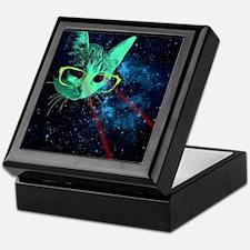 Laser Eyes Space Cat Keepsake Box