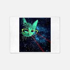 Laser Eyes Space Cat 5'x7'Area Rug