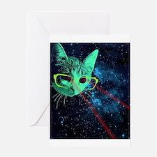 Laser Eyes Space Cat Greeting Cards