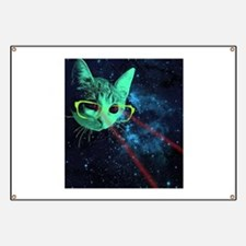 Laser Eyes Space Cat Banner
