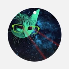 Laser Eyes Space Cat Round Ornament