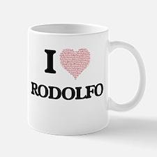 I Love Rodolfo (Heart Made from Love words) Mugs